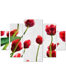 Michelle Calkins 'Red Tulips from Bottom Up II' Multi-Panel Wall Art Set