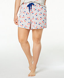 Jenni by Jennifer Moore Plus Size Knit Cherry-Print Boxer Shorts, Created for Macy's