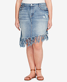 WILLIAM RAST Plus Size Chelsea Distressed Fringed Denim Skirt