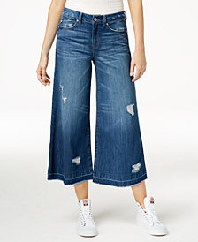 Rewash Juniors' Wide-Leg Denim Cropped Pants