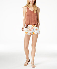 7 For All Mankind Printed Denim Cutoff Shorts