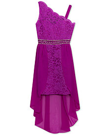 Rare Editions Big Girls One-Shoulder Maxi-Overlay Lace Dress