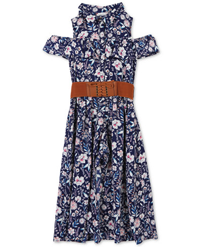 Speechless Big Girls Floral-Print Cold Shoulder Maxi-Overlay Romper