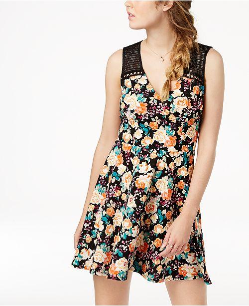 Juniors' Mesh Dress Flare Floral Black Trixxi amp; Fit Trim qBgwOBZd