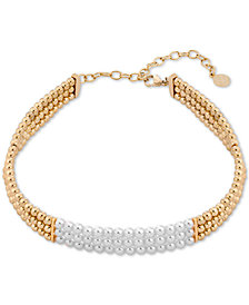 "Majorica Gold-Tone Bead & Imitation Pearl Choker Necklace, 12"" + 4"" extender"