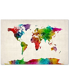 "Michael Tompsett Watercolor World Map II 30"" x 47"" Canvas Art Print"