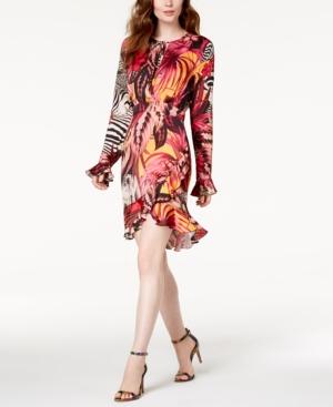 Just Cavalli PRINTED RUFFLED DRESS