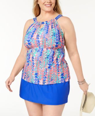 Plus Size Up and Down Tankini Top, Created for Macy's