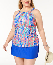 GO By Gossip Plus Size Tankini Top & Swim Skirt, Created for Macy's