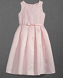 Embroidered Organza Satin Dress, Little Girls