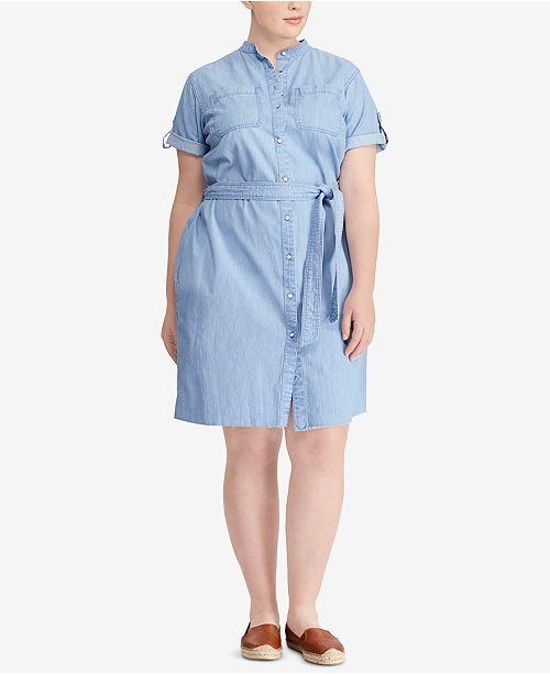 Lauren Ralph Lauren Plus Size Denim Cotton Shirtdress Dresses