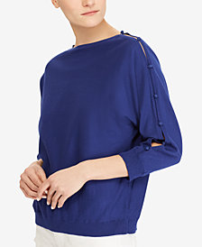 Lauren Ralph Lauren Button-Sleeve Cotton Top