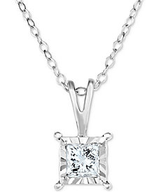 "TruMiracle® Diamond Princess Solitaire 18"" Pendant Necklace (1/2 ct. t.w.) in 14k White Gold"