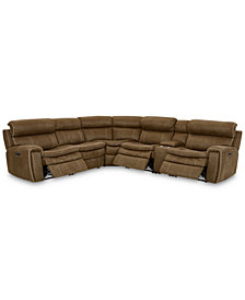 CLOSEOUT! Leilany 6-Pc. Fabric Sectional Sofa with 3 Power Recliners, Power Headrests, Console and USB Power Outlet