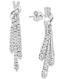 Pavé Classica by EFFY® Diamond Drop Earrings (1-1/3 ct. t.w.) in 14k White Gold