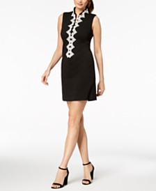 Jessica Howard Petite Embroidered-Trim Dress
