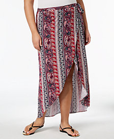 No Comment Trendy Plus Size Printed Faux-Wrap Maxi Skirt