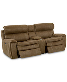 """Leilany 93"""" 3-Pc. Fabric Power Reclining Sofa With 2 Power Recliners, Power Headrests, Console And USB Power Outlet"""