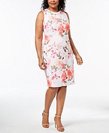 Calvin Klein Plus Size Embellished Floral-Print Sheath Dress