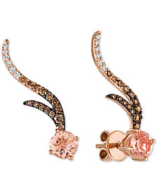 Le Vian Chocolatier® Peach Morganite™ (1-1/8 ct. t.w.) & Diamond (1/2 ct. t.w.) Climber Stud Earrings in 14k Rose Gold