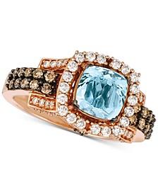 Aquamarine (1-1/5 ct. t.w.) & Diamond (3/4 ct. t.w.) Ring in 14k Rose Gold