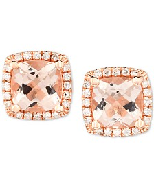 Morganite (1-5/8 ct. t.w.) & Diamond (1/6 ct. t.w.) Cushion Stud Earrings in 14k Rose Gold