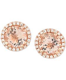 Morganite (3/4 ct. t.w.) & Diamond (1/8 ct. t.w.) Stud Earrings in 14k Rose Gold