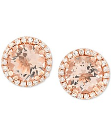 Morganite (3/4 ct. t.w.) & Diamond (1/8 ct. t.w.) Stud Earrings in 14k Rose Gold