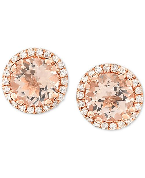 Macy's Morganite (3/4 ct. t.w.) & Diamond (1/8 ct. t.w.) Stud Earrings in 14k Rose Gold