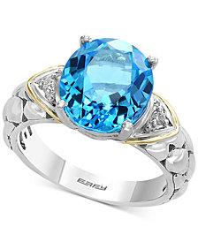 Balissima by EFFY® Blue Topaz (5-1/2 ct. t.w.) & Diamond Accent Ring in Sterling Silver & 18k Gold