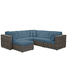 Viewport Outdoor 6-Pc. Modular Seating Set (3 Corner Units, 2 Armless Units and 1 Ottoman) with Custom Sunbrella® Cushions, Created for Macy's