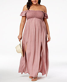 Raviya Plus Size Off-The-Shoulder Maxi Dress Cover-Up