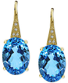 EFFY® Blue Topaz (13-3/4 ct. t.w.) & Diamond Accent Drop Earrings in 14k Gold