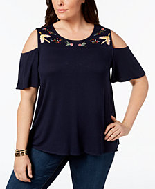 Style & Co Plus Size Embroidered Cold-Shoulder Top, Created for Macy's