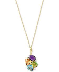 "EFFY® Multi-Gemstone (4-1/4 ct. t.w.) & Diamond Accent 18"" Pendant Necklace in 14k Gold"