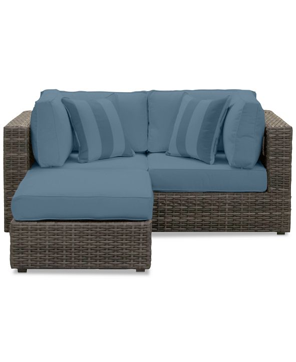 Furniture Viewport Outdoor 3-Pc. Modular Seating Set (2 Corner Units and 1 Ottoman) with Custom Sunbrella® Cushions, Created for Macy's