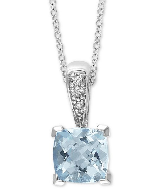 "EFFY Collection EFFY® Aquamarine (1-1/5 ct. t.w.) & Diamond Accent 18"" Pendant Necklace in 14k White Gold"