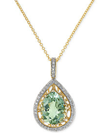 "EFFY® Green Amethyst (3-1/3 ct. t.w.) & Diamond (1/3 ct. t.w.) 18"" Pendant Necklace in 14k Gold"