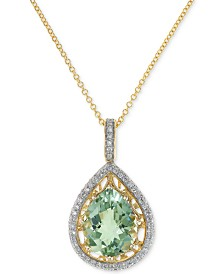 "EFFY® Prasiolite (3-1/3 ct. t.w.) & Diamond (1/3 ct. t.w.) 18"" Pendant Necklace in 14k Gold"