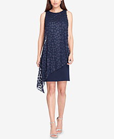 Tahari ASL Embellished Asymmetrical Chiffon-Overlay Dress