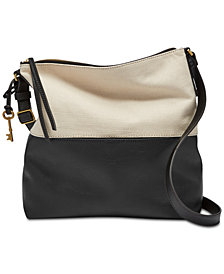Fossil Colorblock Charlotte Small Leather Crossbody Hobo