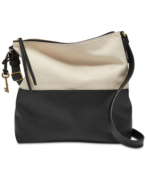 1e94148337a3 Fossil Colorblock Charlotte Small Leather Crossbody Hobo - Handbags ...