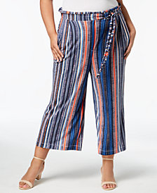 John Paul Richard Plus Size Printed Cropped Pants