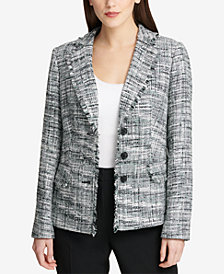 DKNY Fringe-Trim Tweed Blazer, Created for Macy's