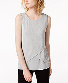 Bar III Layered Chiffon-Hem Sleeveless Top, Created for Macy's