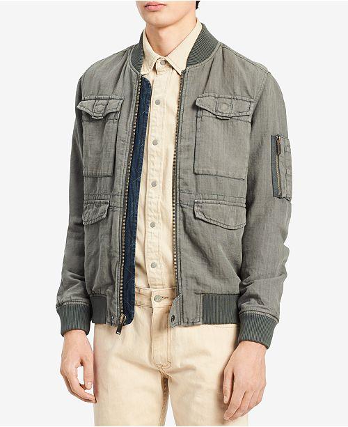 2fd1dbcf7 Calvin Klein Jeans Men's Rebuilt Full-Zip Linen Blend Bomber Jacket ...