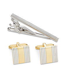 Perry Ellis Men's Classic Cuff Links & Tie Bar Set