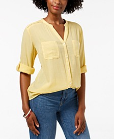Petite Split-Neck Utility Shirt, Created for Macy's