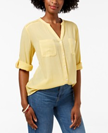 Charter Club Roll-Tab Button-Down Top, Created for Macy's