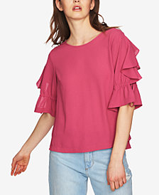 1.STATE Ruffled Tie-Sleeve Top